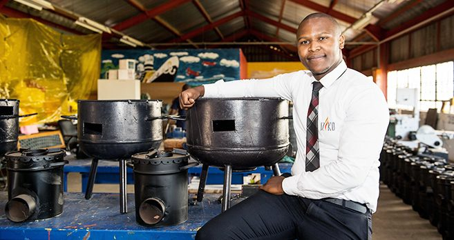 Mr Lindo Duma with the Iziko Stoves.